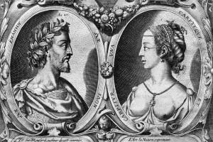 Pierre de Ronsard e Cassandra Salviati. Incisione per l'edizione degli Amours del 1552