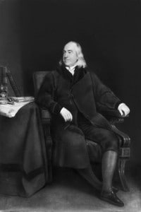 Ritratto dell'economista inglese, filosofo e giurista teorico Jeremy Bentham. Tela del 1829 di H. W. Pickengill