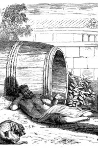 Illustrazione che mostra l'incontro tra Alessandro Magno e Diogene di Sinope