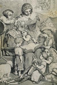 Una famiglia che legge le fiabe