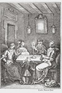 Frontespizio dell'edizione bolognese del 1742 del Pentamerone di Giambattista Basile che mostra la Chiaqlira che legge racconti
