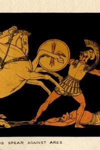 Diomede lancia la sua lancia contro Ares