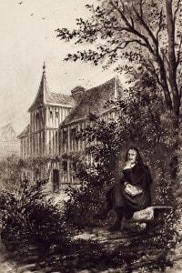 Pierre Corneille, drammaturgo e scrittore francese, di fronte alla sua casa a Petit Couronne vicino a Rouen, in Francia