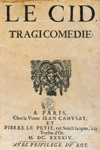 Le Cid, 1636, di Corneille. Frontespizio dell'edizione di Parigi, 1664. Rouen, Musée Corneille