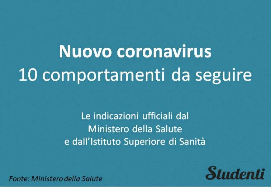 Nuovo coronavirus: 10 comportamenti da seguire