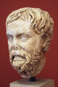 Testa di Pirrone di Elide, il primo filosofo scettico