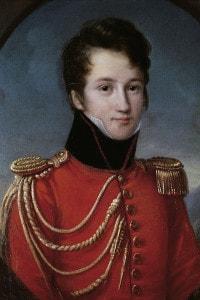 Alfred de Vigny (17 anni) indossa l'uniforme della Maison du Roi. Dipinto di F. J. Kinston