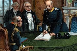 Bismarck incontra i delegati francesi, Adolphe Thiers e Jules Favre, al Palazzo di Versailles, 26 febbraio 1871