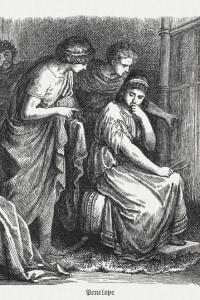 Penelope al telaio. Scena della mitologia greca