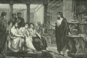 Conferenza di Galeno (130-201 d.C.) sull'anatomia nel Tempio della Pace a Roma