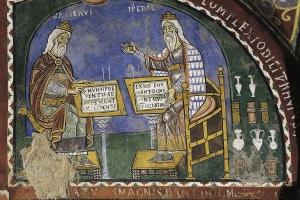 Ippocrate e Galeno. Affresco dei primi del XIII secolo nella cripta della Cattedrale di Santa Maria ad Anagni