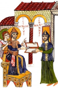 """Giovanni, abate di Montecassino, presenta a san Benedetto una copia del """"Commento alla Regola"""" di Paolo Diacono (miniatura del X secolo)"""