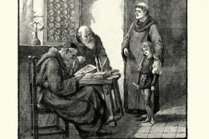 Monaci medievali e uno studente