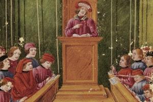 Pietro d'Anzola durante una lezione di legge presso l'Università di Bologna