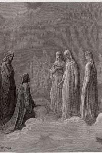 Canto 3 del Paradiso di Dante. Piccarda Donati e le anime che hanno rotto il voto. Stampa di Gustave Dore (1832-1883)