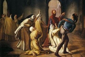 Piccarda Donati fatta rapire dal convento di Santa Chiara dal fratello Corso. Olio su tela, 107x138 cm, di Lorenzo Toncini