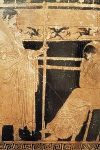 Skyphos attico raffigurante Penelope e suo figlio Telemaco a Itaca durante l'assenza di Ulisse