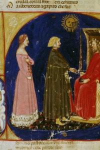 Canto 6 del Paradiso di Dante. Miniatura veneta del 14° secolo