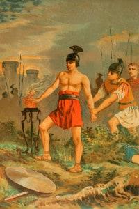 Gaio Muzio Scevola: personaggio leggendario di Roma. Dopo essere stato fatto prigioniero dagli Etruschi, mise la mano sul fuoco sacro con grande coraggio senza mostrare alcun gesto di dolore, alla presenza del re etrusco, Lars Porsenna