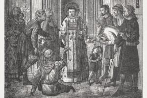 San Lorenzo, diacono e martire romano, distribuisce le ricchezze della Chiesa ai poveri