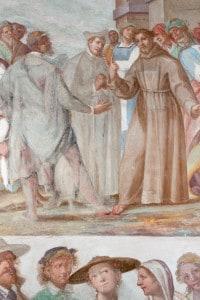 San Franceso e i suoi primi compagni Bernardo da Quintavalle e Pietro Cattani. Affresco di Della Rovere