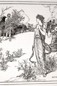 Ulisse incontra Nausicaa, figlia del re Alcinoo