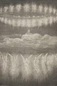 Canto XII del Paradiso: la seconda corona di anime sagge appare a Dante nel Quarto cielo del sole. Incisione di Gustave Dore