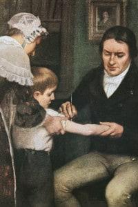 Il dottor Edward Jenner (1749-1823) esegue la prima vaccinazione contro il vaiolo su un bambino di otto anni