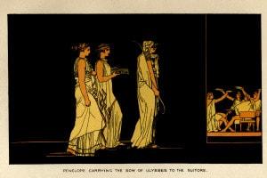 Gara con l'arco. Penelope porta l'arco di Ulisse ai suoi pretendenti