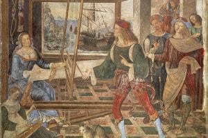 Il ritorno di Ulisse da Penelope. Affresco di Pinturicchio