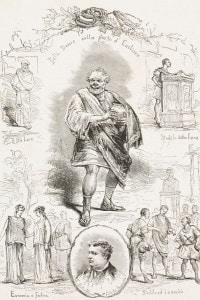 L'Aulularia di Plauto rappresentata dalla Belli-Blanes Company, Roma. Disegno di Dante Paolocci