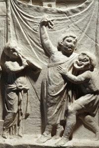 Civiltà romana, II secolo a.C. Rilievo raffigurante una scena della commedia Andria di Terenzio