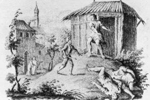 L'incontro tra Orlando e Morgante. Illustrazione per il poema di Luigi Pulci