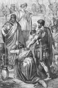 Incisione raffigurante il generale Belisario che consegna i prigionieri vandali all'imperatore Giustiniano I. L'imperatrice Teodora si trova dietro il marito Giustiniano. Africa settentrionale, 534