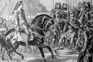 Dipinto che raffigura una scena del trionfo di Giulio Cesare