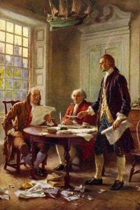 Dichiarazione di Indipendenza americana, 1776. Benjamin Franklin a sinistra, John Adams e Thomas Jefferson