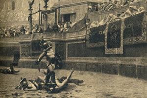 Colosseo, Roma. Combattimento tra gladiatori