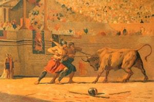 I secolo a.C. Festa in onore di Giulio Cesare nel circo romano. Gladiatori che combattono contro un toro