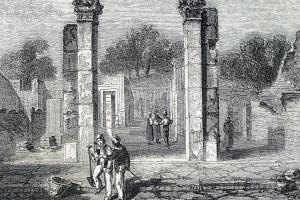 Incisione raffigurante l'ingresso della casa di Sallustio a Pompei