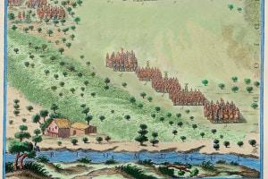 Sallustio. Incisione raffigurante la guerra giugurtina: la battaglia combattuta dai romani contro Giugurta, re di Numidia