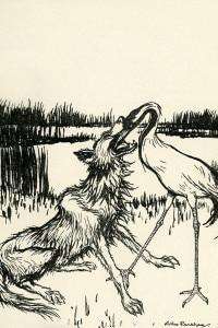 Il lupo e la gru di Esopo. Edizione del 1933 illustrata da Arthur Rackham