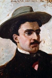 Ritratto di Trilussa, pseudonimo di Carlo Alberto Camillo Mariano Salustri. Poeta, scrittore e giornalista italiano. Dipinto di G. Carpanetto