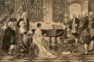 L'immagine ritrae i fratelli Mozart (Maria Anna e Wolfgang Amadeus) che suonano per Maria Teresa d'Austria