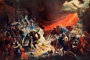 L'ultimo giorno di Pompei: dipinto di K. P. Brjullov che raffigura le persone in fuga dall'eruzione del Vesuvio nel 79 d.C.