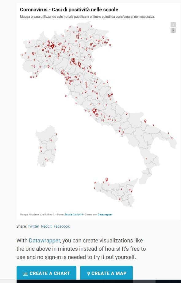 Mappa interattiva che mostra la situazione dei contagi nelle scuole al 23 settembre 2020