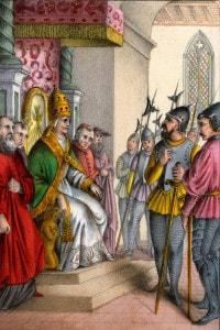 Rappresentazione dello schiaffo di Anagni del 1303: Sciarra Colonna schiaffeggia papa Bonifacio VIII