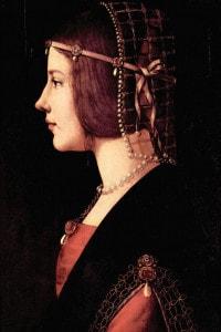 Beatrice d'Este in un dipinto di Leonardo da Vinci, 1485