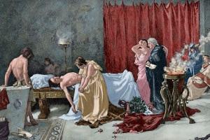 La morte di Marco Anneo Lucano (39-65 d.C.). Incisione di Waloy