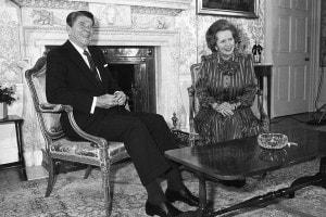 Margaret Thatcher con il presidente americano Ronald Reagan