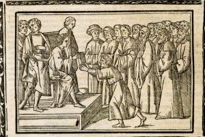 Marziale (40-102) che consegna una copia della sua opera all'imperatore Nerone. Incisione italiana del 1514